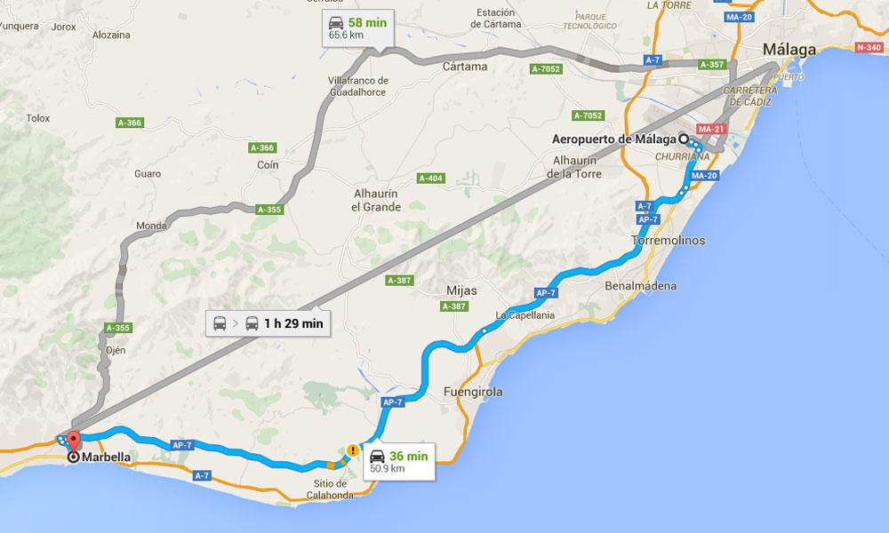 Klicken Sie, um zu sehen Malaga - Marbella Karte