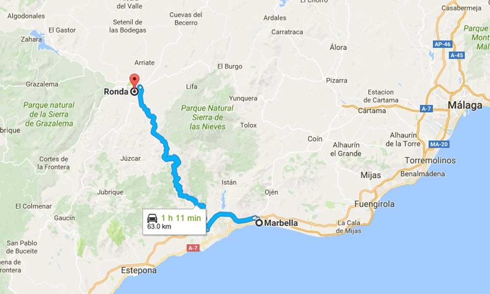 Marbella to Ronda Map