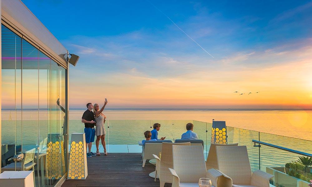 Belvue Rooftop bar at  sunset