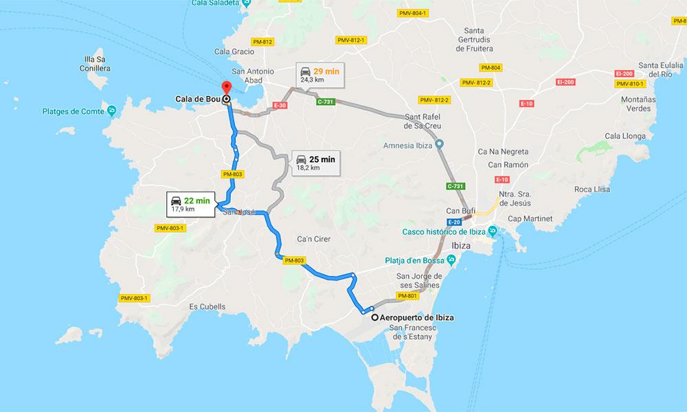 How to get to Cala de Bou and San Antonio Bay Ibiza
